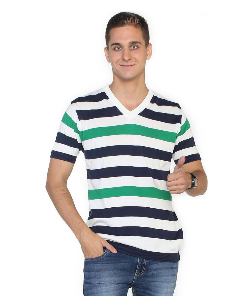 Globus Blue Cotton V-Neck T Shirt