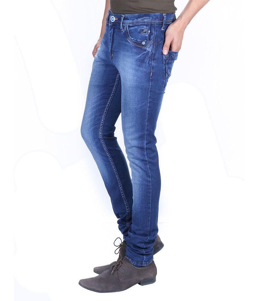 Meghz Blue Cotton Blend Regular Fit Men's Jeans