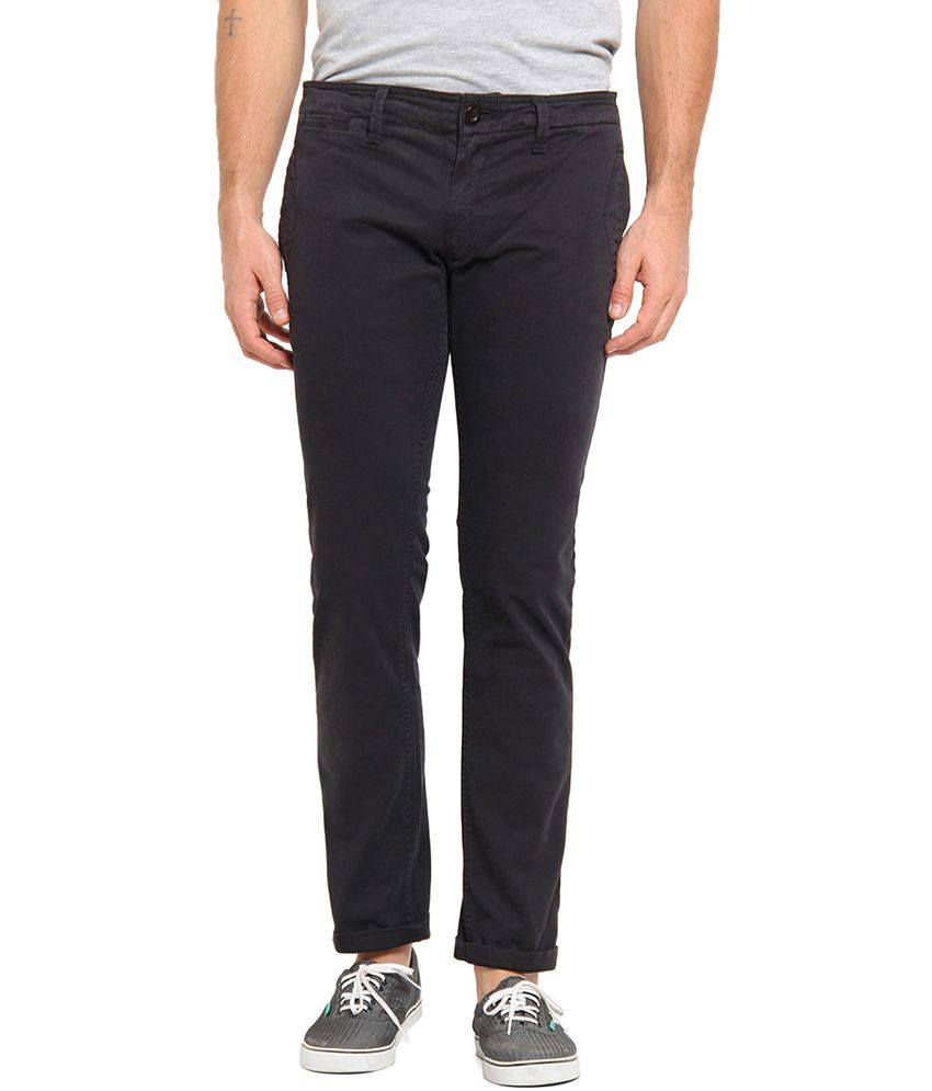 Offline Black Cotton Lycra Casual Slim Chinos