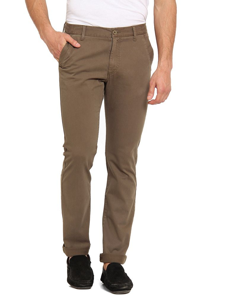 Offline Green Cotton Lycra Casual Slim Chinos