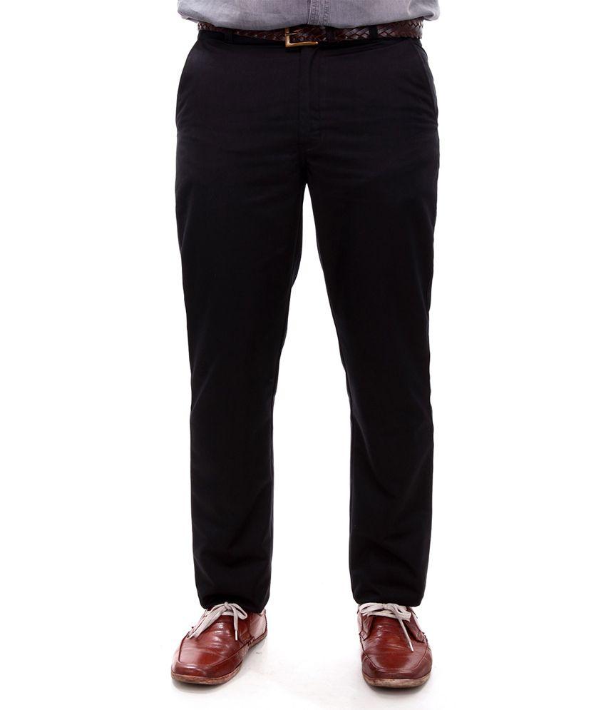 R K Industries Black Formal Trousers