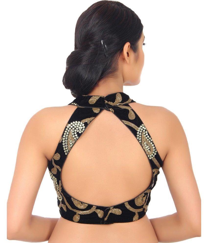 halter neck back saree blouse