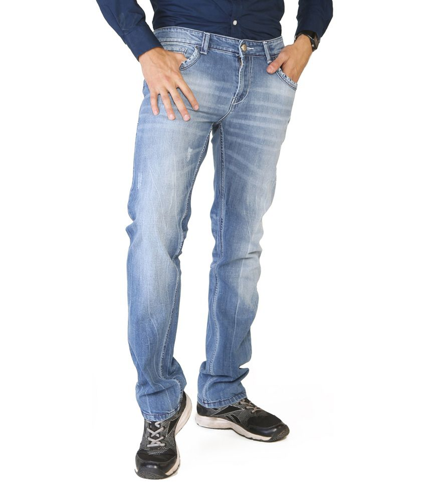 Globus Blue Cotton Blend Regular Faded Jeans