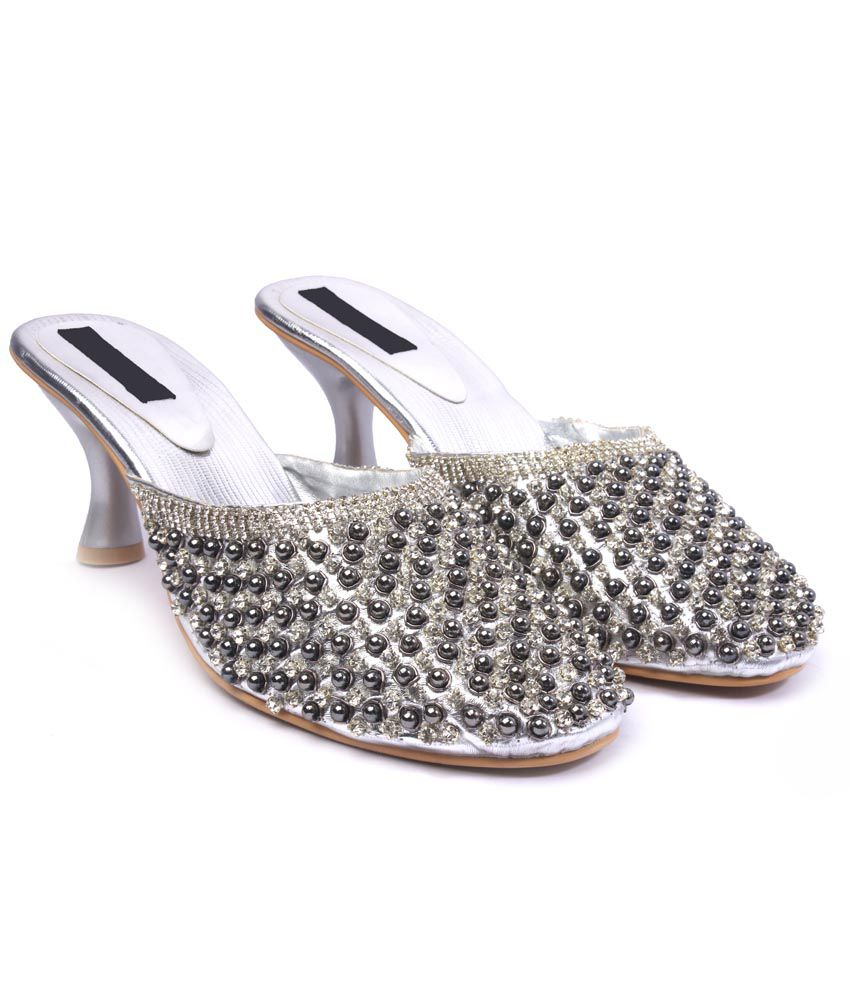 Lumiere Silver Low Heel Patent Sandals