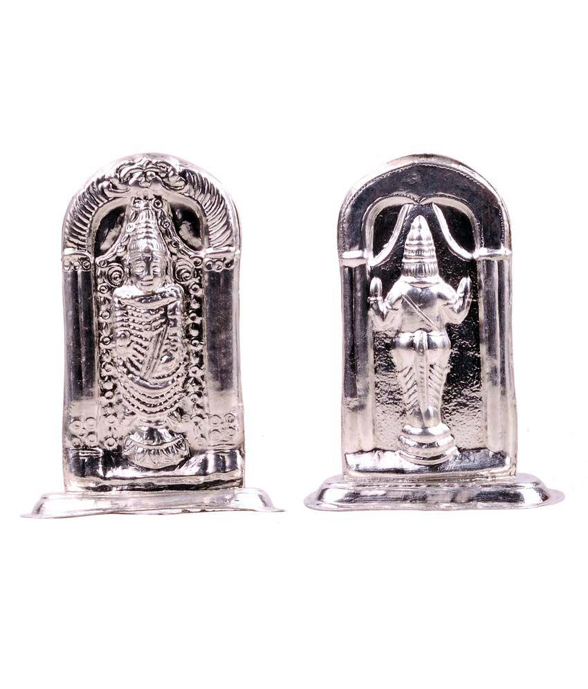 Mangalam Silver Art White Lord Balaji Idol Made Of Pure Silver