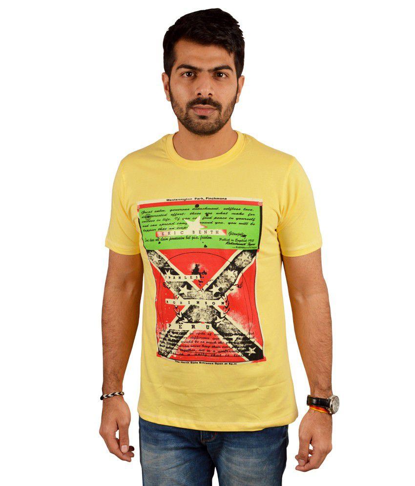 Miller & Schweizer Yellow Cotton Blend Printed Round Neck T-shirt