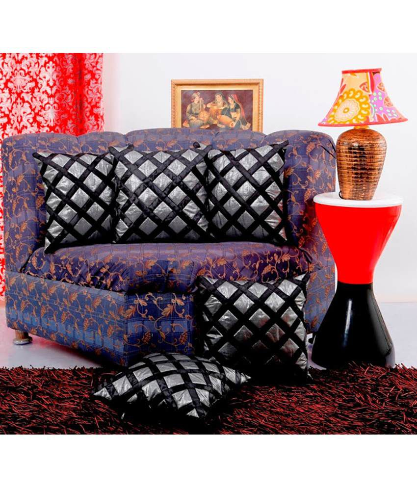 Dekor World Square of Shimmer Cushion Cover Black & Silver (Pack of 5)
