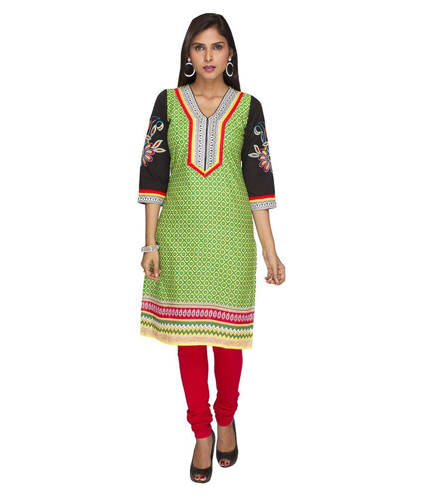Jashn Green Printed Cotton V-Neck 3/4th Sleeves Medium Kurti