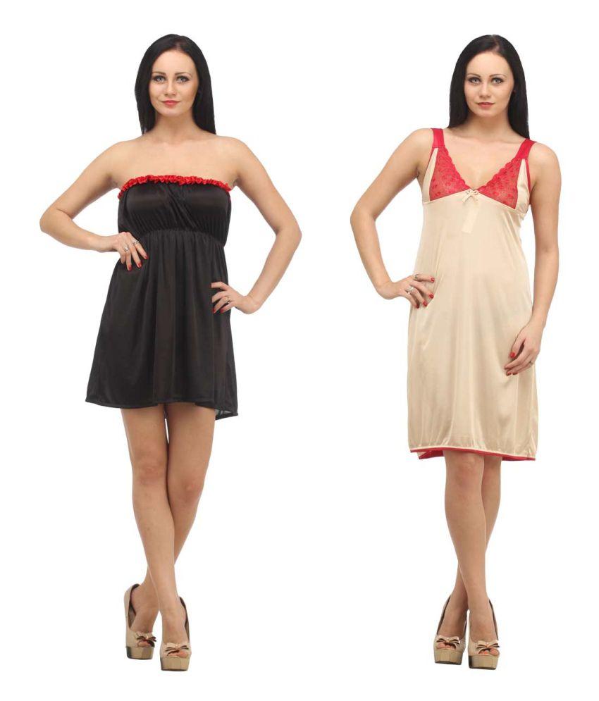Klamotten Multi Color Satin Baby Doll Dresses Pack of 2
