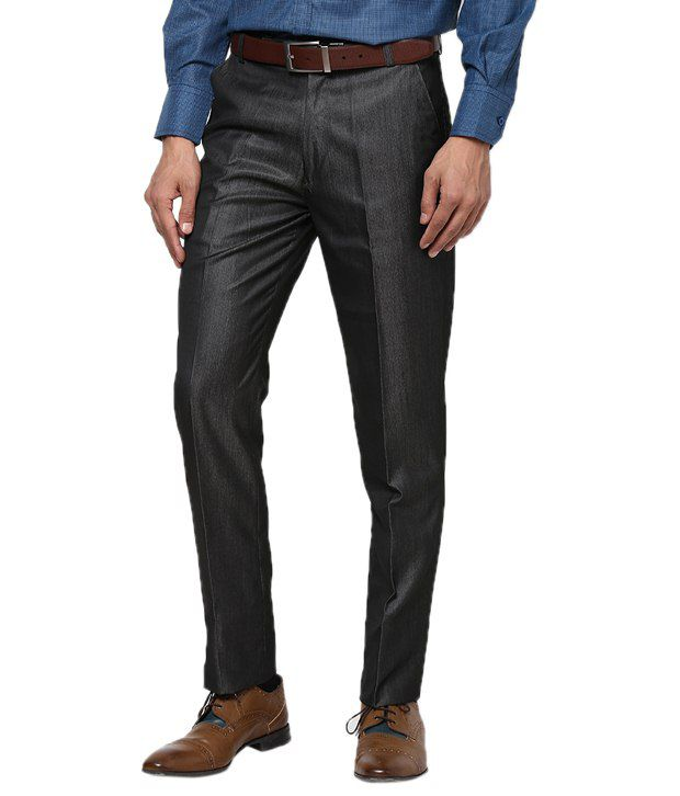 Zaab Black Cotton Slim Fit Formals Flat Trouser