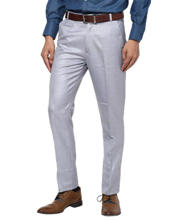Zaab Blue Cotton Slim Fit Formals Flat Trouser