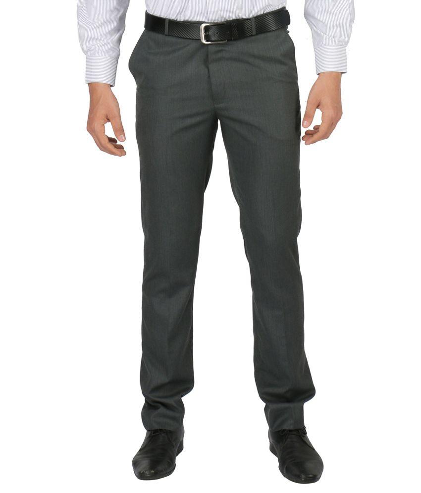Zido Dark Grey Formal Trousers For Men_ZI14087_GREY