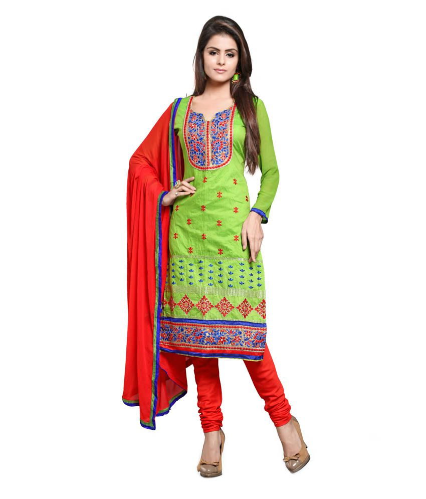 cef661f3a99 Blissta Green and Red Chanderi Dress Material - Buy Blissta Green and Red Chanderi  Dress Material Online at Best Prices in India on Snapdeal