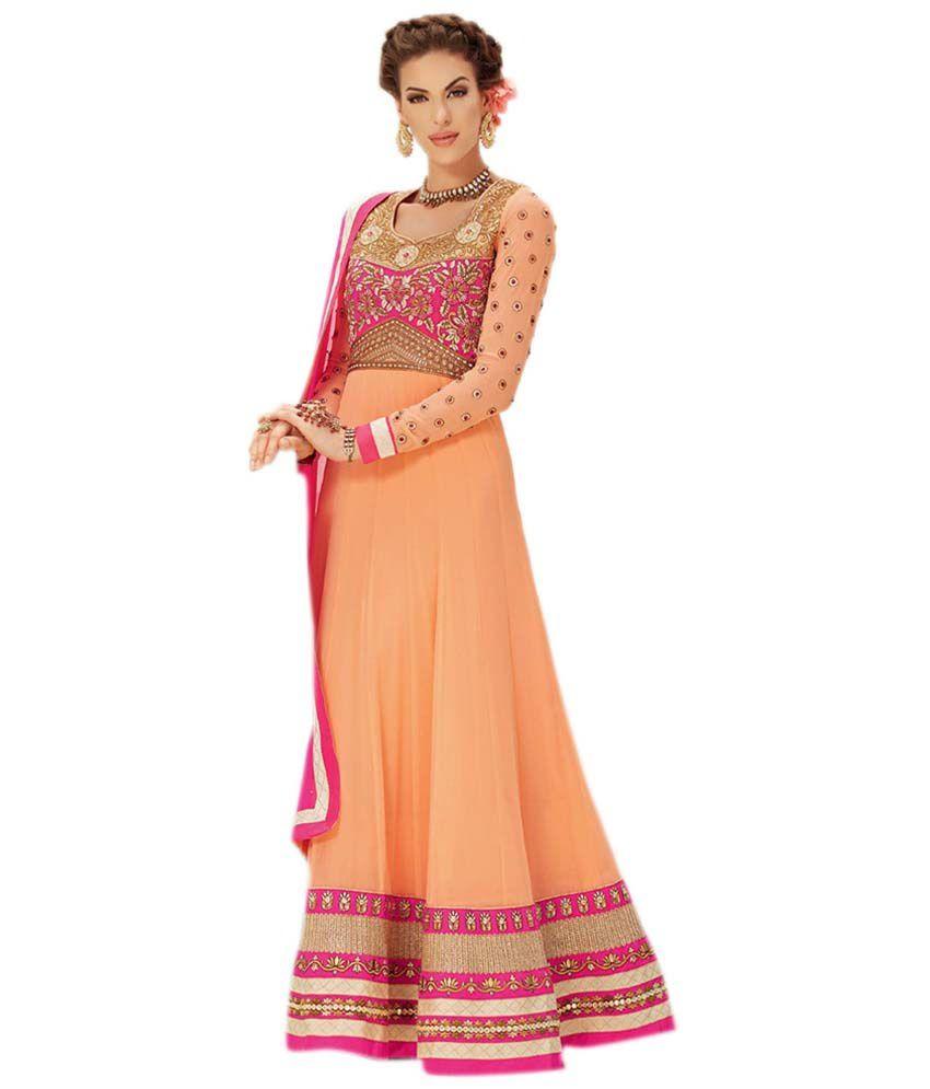 Elijaah PeachPuff Georgette Unstitched Dress Material