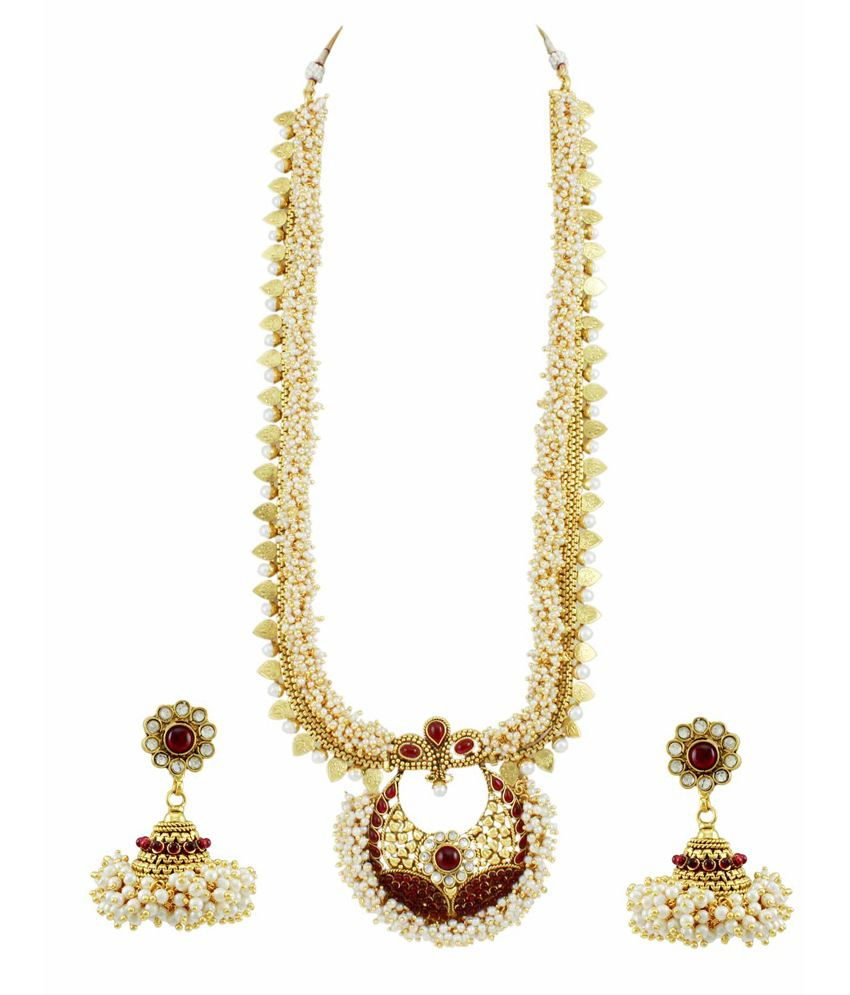Orniza Ethnic Long Pearl Fused Necklace Set with Jhumka Earrings