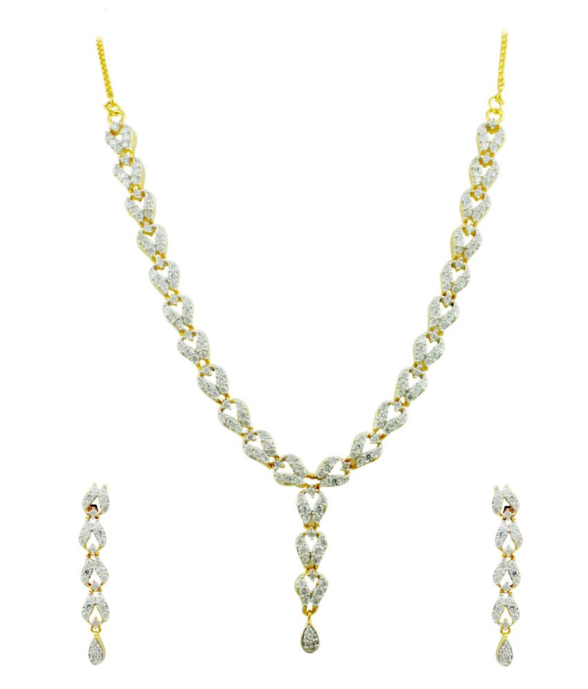 Orniza Abstract V shaped Golden Silver Polished CZ Necklace Set