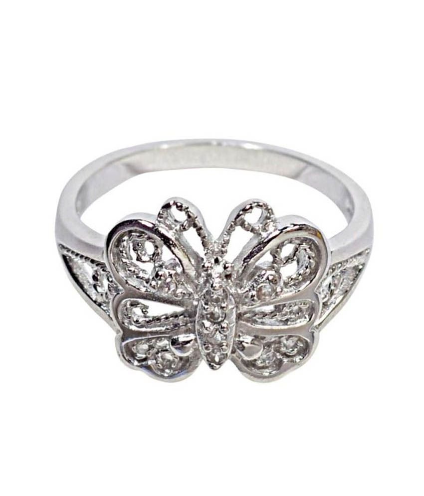 Navkaar Creation Butterfly Ring In 925 Sterling Silver Studded Cz Stones Jewelry