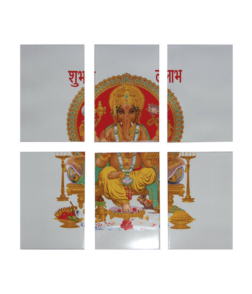 Buy Om Ceramics Ganesha Printed Tiles Online At Low Price