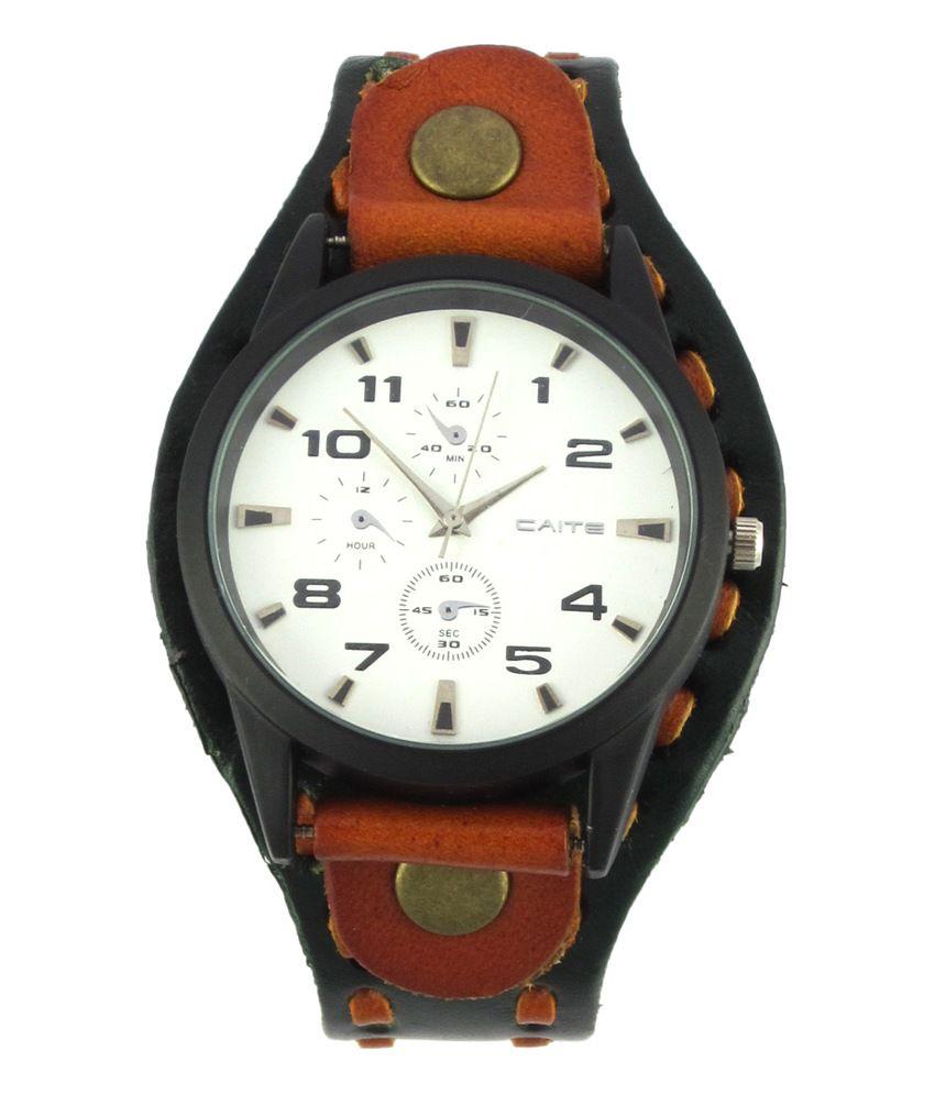 Qratd Japan Miyota Designer Green Brown Watch Genuine Handcraft Leather Strap Bracelet