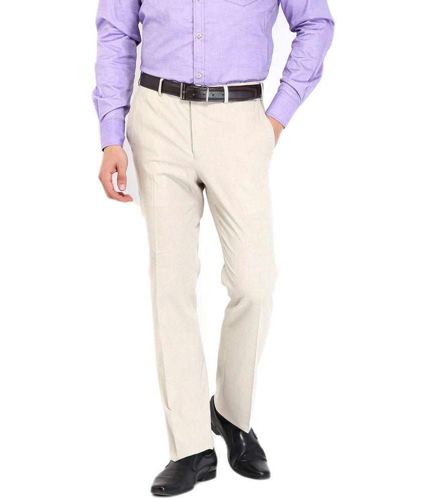Raymond White Poly Viscose Regular Formal Trouser