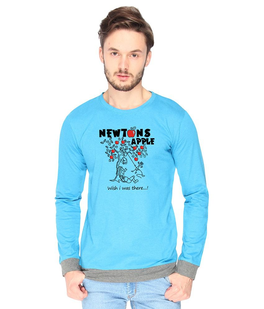 Campus Sutra Cotton Blue Newtons Apple Printed T-shirt