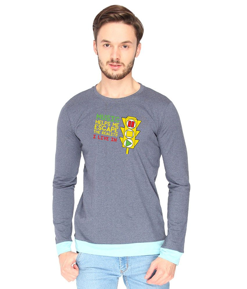 Campus Sutra Cotton Gray Music Printed T-shirt