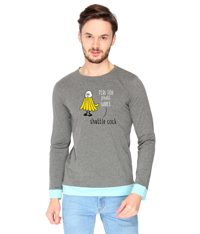 Campus Sutra Cotton Gray Shuttle Cock Printed T-shirt