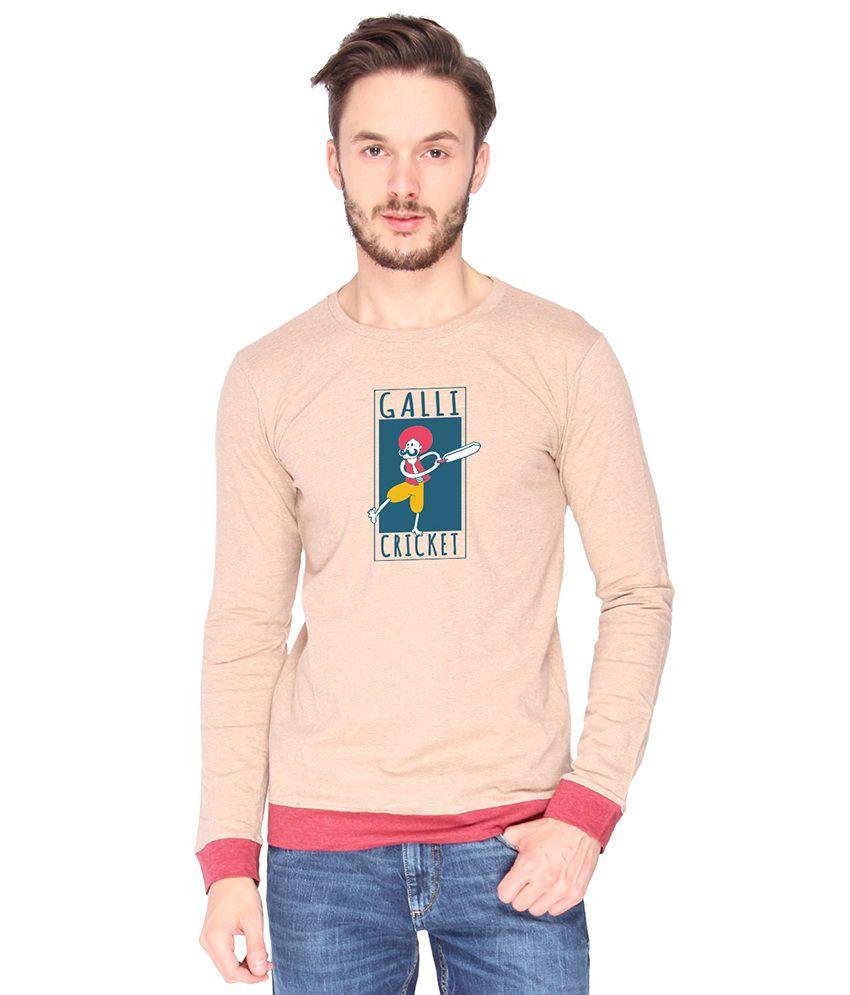 Campus Sutra Cotton PeachPuff Galli Cricket Printed T-shirt