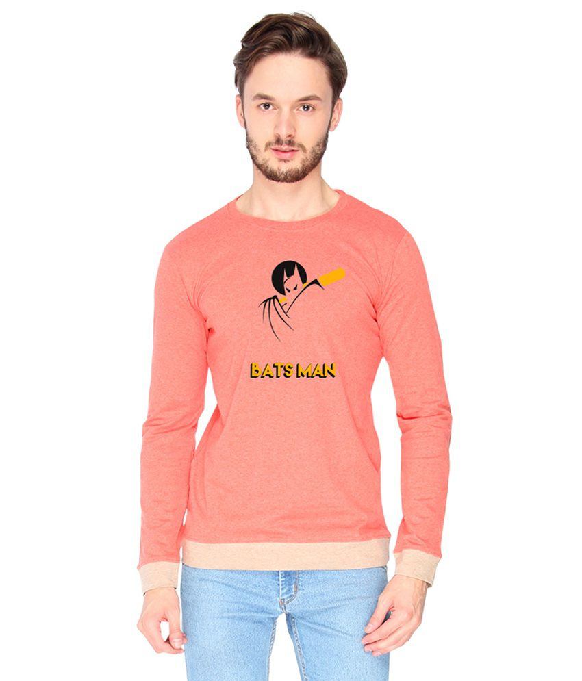 Campus Sutra Cotton Pink Bats Man Printed T-shirt