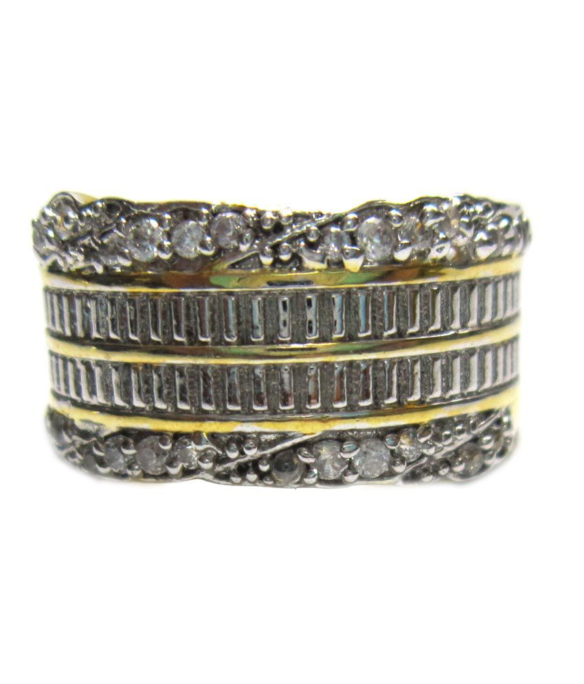 Style me golden rhodium plated american diamond studded Style me up fashion trim rings