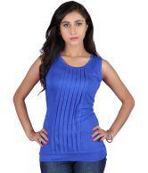 Raves Blue Solids Viscose Partywear Half Sleeves Top