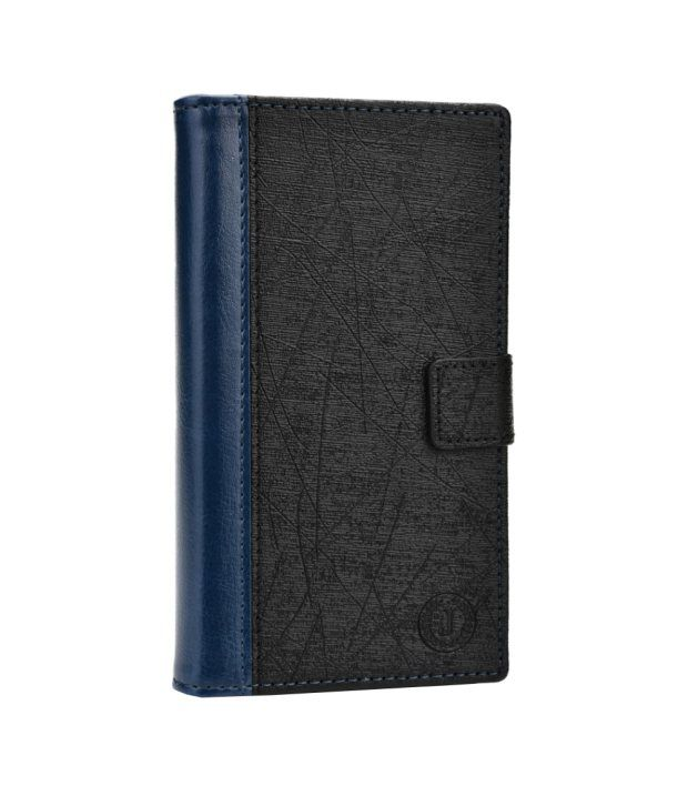 Jo Jo Cover Saturn Series Leather Pouch Flip Case For Samsung I9001 Galaxy S Plus Dark Blue Black
