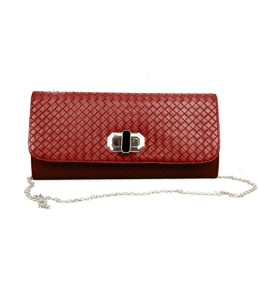 Just Women Clutch Hand Purse in Burgundy PU Leather