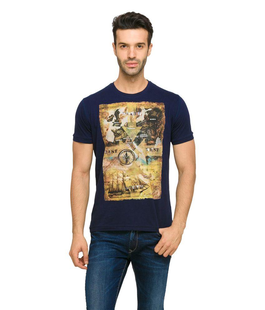 Status Quo Men's Navy Coloured Casual T-Shirt
