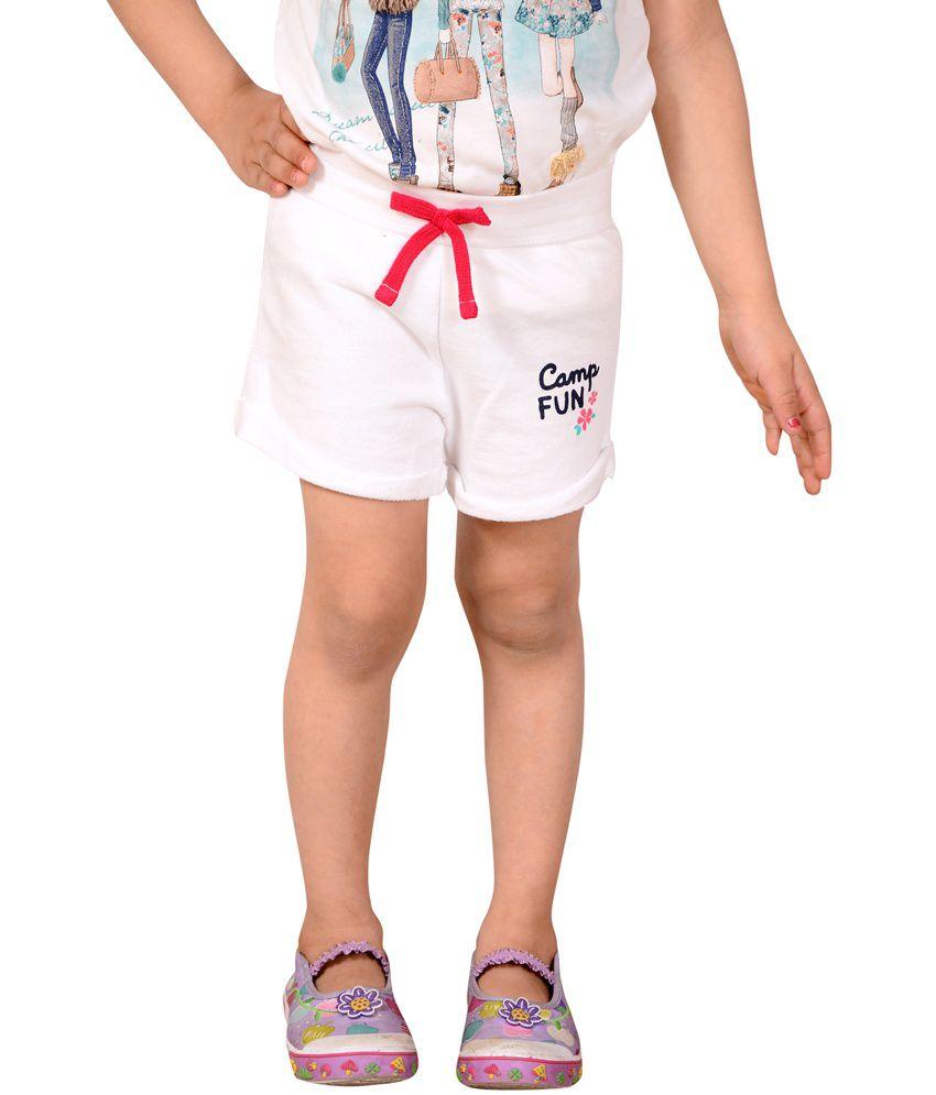 white cotton shorts for girls