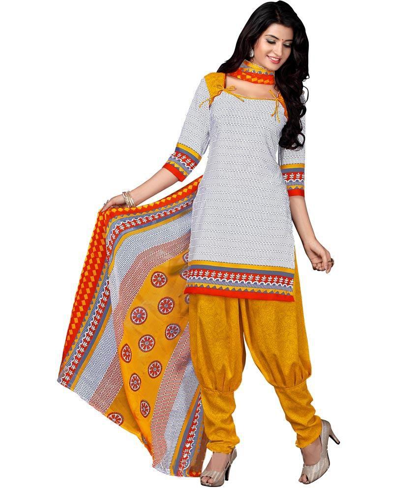 Vrishti Fashion Yellow Art Crepe Unstitched Dress Material