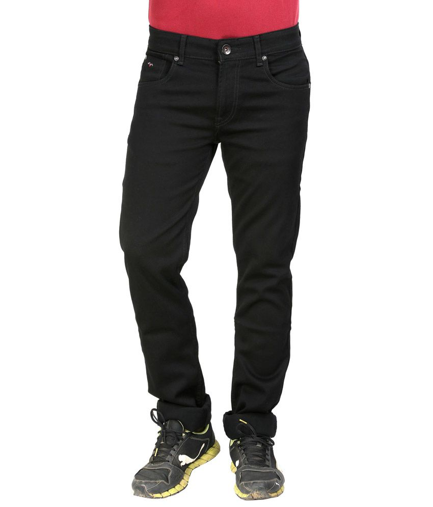 Wert Solid Black Slim Fit Denim Jeans for Men