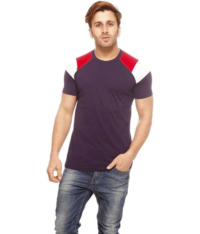 Gritstones Purple Cotton Half Sleeves Round Neck T-Shirt