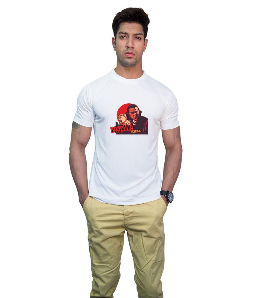 Printland White Polyester Round Neck Half Printed T-Shirt