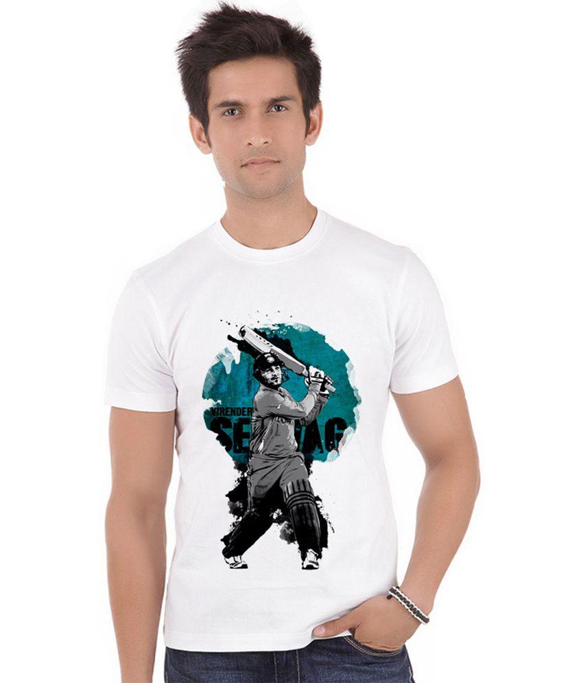 Shopmantra White Polyester Virender Sehwag Blaster T-shirt