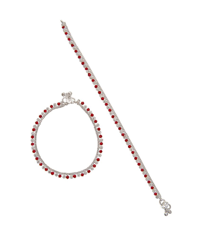 Taj Pearl Red White Silver Plated Anklet