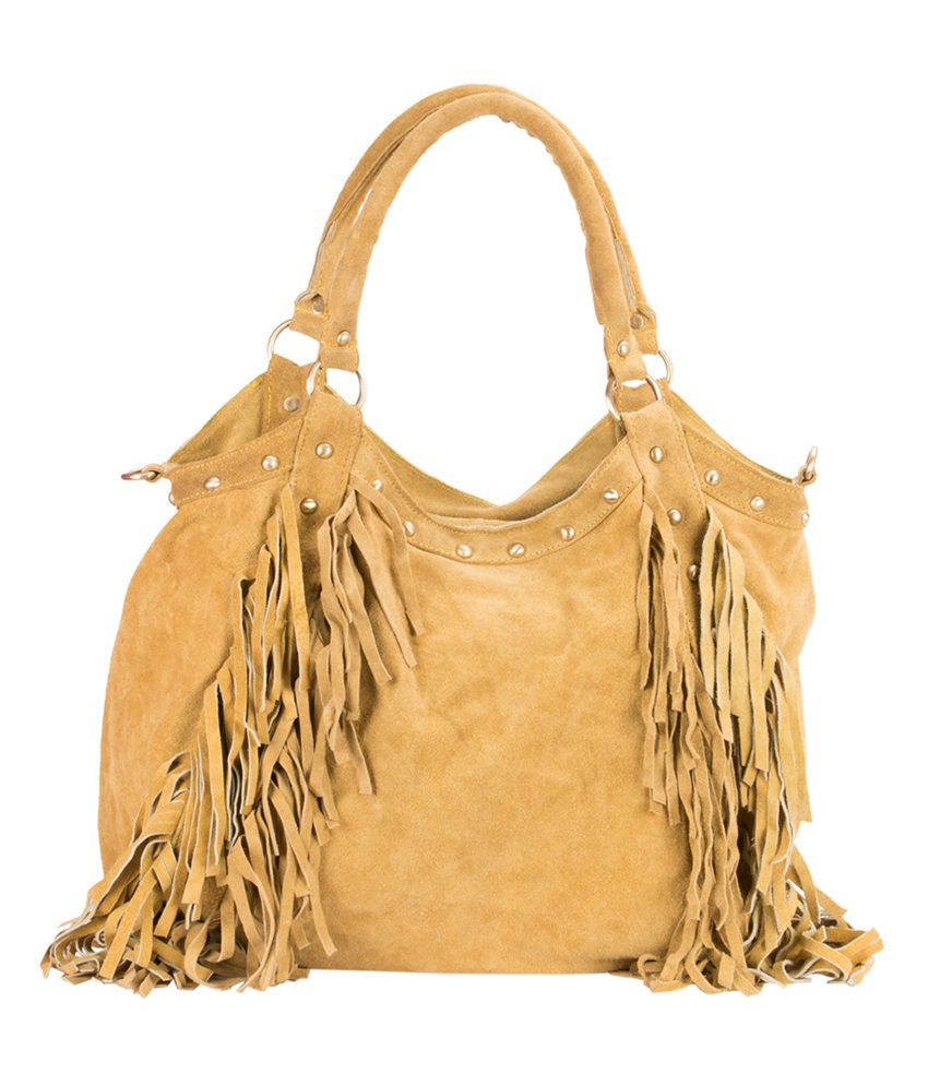 Famous By Payal Kapoor Yellow Leather Shoulder Bags