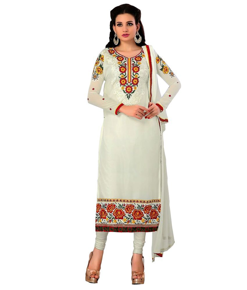 Makedeal White Faux Georgette Unstitched Dress Material