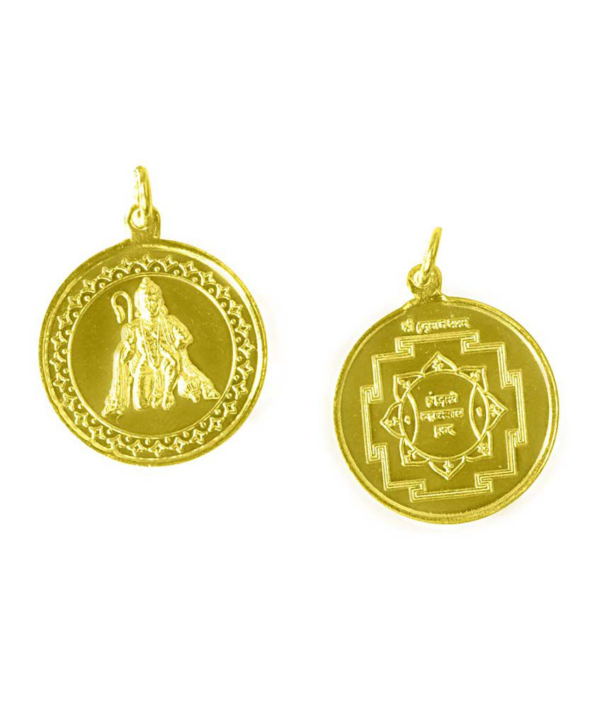 Navkaar Creation Navkaar Creation Hanuman Yantra Pendant In Copper Gold Plated Blessed And Energised Locket