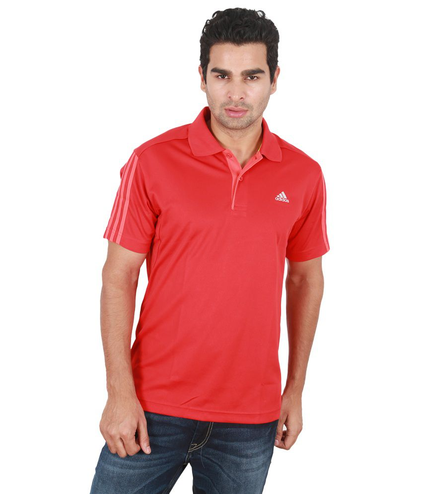 Adidas Red Polyester Half Sleeved Polo T-Shirts
