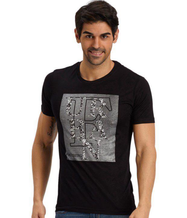 Fritzberg Black Cotton Blend Printed T Shirt