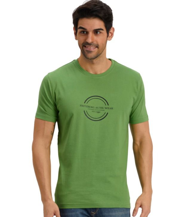 Fritzberg Green Cotton Printed T Shirt