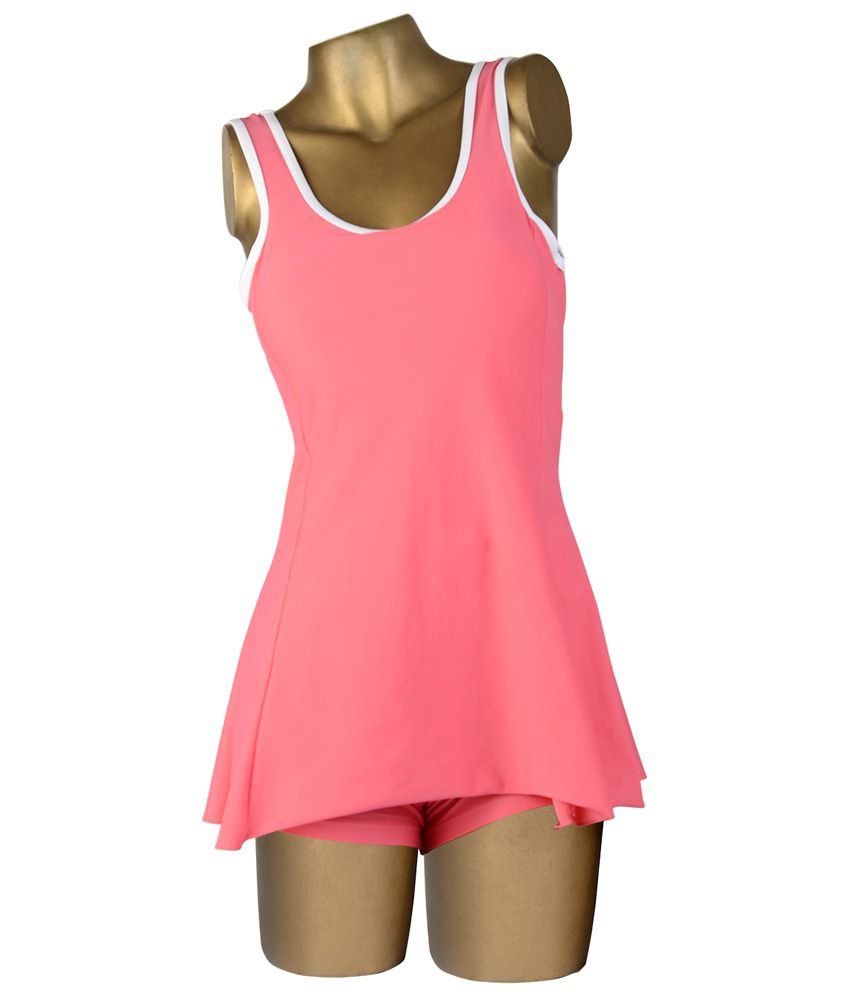 Indraprastha Coral Pink Plain Swimsuit/ Swimming Costume