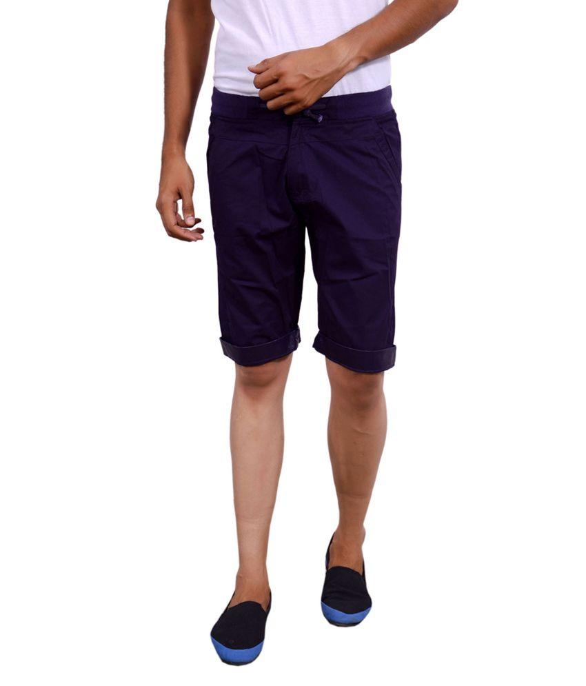 Actistud Purple Cotton Blend Three-Fourth For Men