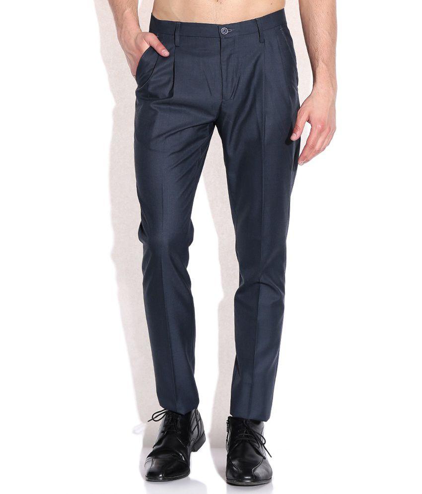 Arrow New York Navy Slim Fit Formal Trouser